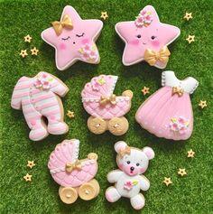 Baby Nicole's cookies Cupcakes Baby Shower Niño, Gateau Baby Shower, Baby Shower Desserts, Baby Shower Themes, Fancy Cookies, Cute Cookies, Sugar Cookies, Heart Cookies, Decoracion Baby Shower Niña