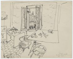 Saul Steiberg, Milano – My room – Bar del Grillo, 1937. Inchiostro su carta, 22.7 x 28.9 cm. Saul Steinberg Papers, Beinecke Rare Book and Manuscript Library, Yale University. © The Saul Steinberg Foundation/ARS, NY.