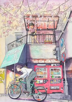 Watercolor Illustrations Of A 'Bicycle Boy' Inspired By Studio Ghibli - DesignTAXI.com