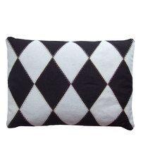Harlequin cushion, cream and black