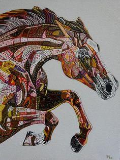 Abstract Horse 5 (Sculptural) by Paula Horsley Horse Drawings, Animal Drawings, Art Drawings, Drawing Art, Horse Quilt, Mosaic Animals, Horse Artwork, Horse Sculpture, Arte Pop