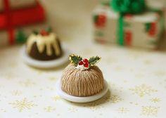 Dollhouse Miniature Food - Christmas Pudding Chestnut Flavour-Dollhouse Miniature Food, Christmas Pudding