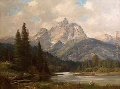 Robert Wood Grand Teton painting for sale, this painting is available as handmade reproduction. Shop for Robert Wood Grand Teton painting and frame at a discount of off. Simple Oil Painting, Oil Painting Abstract, Painting Frames, Watercolor Landscape, Landscape Paintings, Oil Paintings, Vintage Paintings, Landscapes, Abstract Landscape