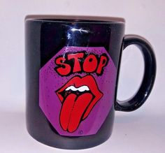 VTG Rolling Stones Coffee Mug Stop Sign Tongue Logo 19th Nervous Breakdown