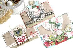 Embellished Christmas Envelopes using Webster's Pages Christmas Collections by Emeline. Create Christmas Cards, Beautiful Christmas Cards, Xmas Cards, Envelope Lettering, Envelope Art, Christmas Envelopes, Websters Pages, Scrapbook Cards, Scrapbooking