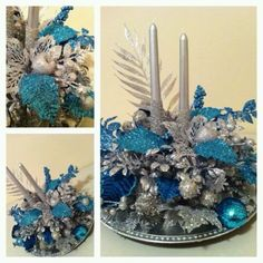 Blue and silver table decoration for christmas with candle