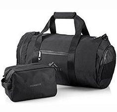 Homaste Gym Bag Bundle - Designer Gym Bag for Men and Women with Bonus Dopp Kit, Vented Shoe Compartment, and Waterproof Nylon Shell - Black Best Travel Bags, Best Travel Accessories, Best Gym, Dopp Kit, Designer Backpacks, Duffel Bag, Luggage Bags, Mens Fashion, Man Bags