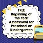 This is a basic skills assessment for Preschool or Kindergarten at the beginning of the year.  Assess students on first name writing, color ID, sha...