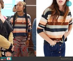 Zoey's striped sweater and floral pants on Grown-ish.  Outfit Details: https://wornontv.net/87981/ #Grown-ish