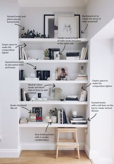 How to decorate your shelves: the minimal style – The White Interior - 読書 2020 Styling Bookshelves, Decorating Bookshelves, How To Decorate Bookshelves, Book Shelf Decorating Ideas, Decorate A Wall, Homemade Bookshelves, Decorating Hacks, Foyer Decorating, Decorating Kitchen