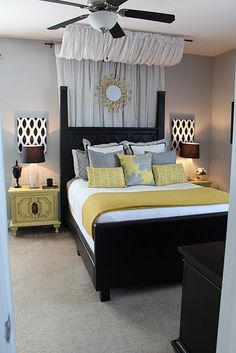 Black, bold furniture compliment the trendy yellow and white