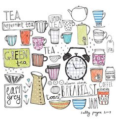 """""""Kitchen inspired line drawings and then to follow some coloured line typography and pattern."""" #Illustration #Pattern by Sally Paine. So cute!:"""