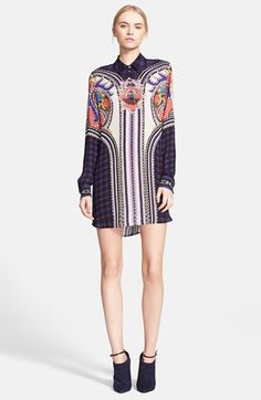 "Mary Katrantzou 'Croft' Silk Georgette Shirtdress aded V-neckline adds flattering weight to the wispy silhouette of this caftan-inspired day dress.  37"" length. Back zip closure. Short flutter sleeves. Fully lined. 100% viscose. Dry clean. By Adrianna Papell; imported. Dresses.sapphireavailable at #Nordstrom"