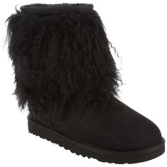 Ugg 'Mongol' short boot ($368) ❤ liked on Polyvore featuring shoes, boots, ankle booties, uggs, fur boots, short boots, ugg australia, fur lined boots and ankle boots