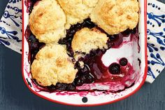 Blueberry Cornmeal Cobbler—This fruity dessert takes only minutes to prepare, making it a lovely finish to a weeknight meal. Cornmeal adds a bit of crunch to the classic biscuit topping. No Bake Treats, No Bake Desserts, Just Desserts, Fruit Recipes, Summer Recipes, Dessert Recipes, Canadian Living Recipes, Blueberry Cobbler, Summer Bbq