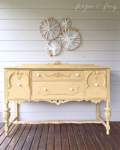 Buffet painted by Amanda of Ferpie and Fray in Miss Mustard Seeds, Mustard Seed Yellow Yellow Painted Furniture, Chalk Paint Furniture, Furniture Projects, Furniture Making, Diy Furniture, Refurbished Furniture, Repurposed Furniture, Furniture Makeover, Vintage Furniture