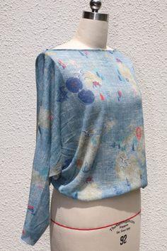 Gratis Schnittmuster Shirt langarm Kimono-Stil