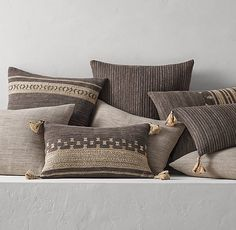 Handwoven Bhujodi Pillow Cover Collection - Charcoal