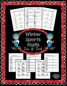 Winter Sports Morning Work Math packet. Just in time for the Olympics! 8 worksheets to address counting on, missing numbers, number sequences, and ten frames. 0-20 and 0-100 included. Great for Kindergarten-1st.