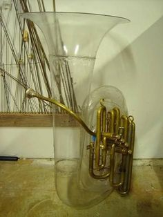 Glass, plastic or acrylic tuba. I would think clear aerophones would be gross, because then the condensation would be visible. I wonder if they sound good? Brass Musical Instruments, Brass Instrument, Tuba Pictures, Sousaphone, Sound Sculpture, Instrument Sounds, Band Nerd, Jazz Funk, Piano