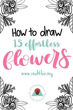Video showing you how to draw 15 different flowers AND a printable practice sheet! Bibel Journal, Flower Doodles, Doodle Flowers, How To Draw Flowers, Easy Flowers To Paint, Painting Flowers, Plant Drawing, You Draw, Learn To Draw