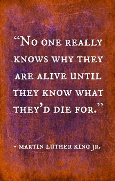 No one really knows why they are alive until they know what they'd die for. - Martin Luther King JR.