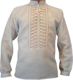 """#вишиванка чоловіча білим по білому """"Мережка"""" (Арт. 00420)"""