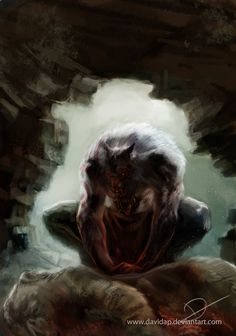 Werewolf Art by davidap @ deviantart Bark At The Moon, Howl At The Moon, Fantasy Creatures, Mythical Creatures, Apocalypse, Of Wolf And Man, Werewolf Art, Primitive, Vampires And Werewolves