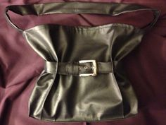 Black Silver Buckle Belted Vegan Leather Adjustable Width by CYGI, SOLD