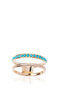 This delicate design from Nikos Koulis has a big impact. This style features two yellow gold bands that are accented with .11 carats of white diamonds and .28 carats of turquoiseSlip OnMade in GreecePlease note: This item is final sale.