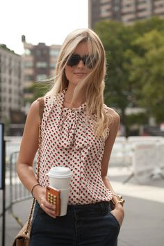 dotted tie blouse + navy trousers