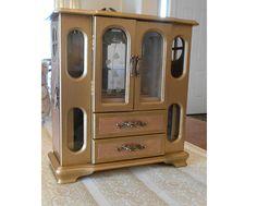 Gold Jewelry Box. Jewelry Armoire Wood Jewelry box