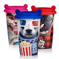 """Mug isotherme """"Coffee Crew carlin, panda, chat"""" avec motif amusant. Ce Mug isotherme est fabriqué en porcelaine avec double fond afin de conserver longtemps la boisson au chaud ou au frais. Il est également équipé d'un couvercle coloré en silicone. Hauteur : 16 cm Largeur : Diamètre : 10 cm Couvercle en silicone Permet de conserver au chaud les boissons #NOEL #NOEL2015 ►►►fifi-canari.com #mug #mugcake #mugs #gobelet #porcelaine #isotherme #café #coffee #chocolat #thé #tea #teatime"""