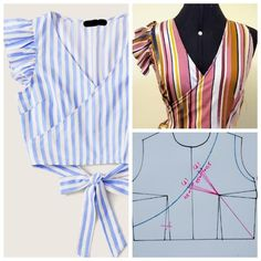 Dicas de Moda, Modelagem e Costura - Yarn Tutorial and Ideas Dress Sewing Patterns, Blouse Patterns, Clothing Patterns, Blouse Designs, Fashion Sewing, Diy Fashion, Fashion Moda, Costura Fashion, Bodice Pattern