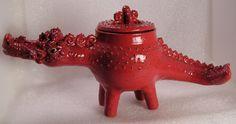 The Prickly Red Dragon Folk Pot – Animal Face Jug – Effigy Jar – Herb Caddy | eBay