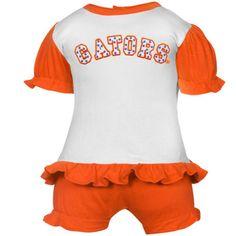 Florida Gators Infant White-Orange Polka Dot Bloomer & T-Shirt Set