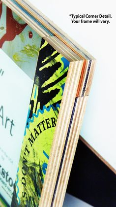 Corner Detail of Picture Frame for 5x7 photo. Made from Recycled Skateboards by deckstool