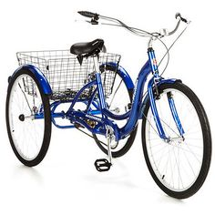 Schwinn Meridian Adult Tricycle with Storage Basket, Blue Only 10 In Stock Order Today! Product Description: Experience a new kind of freedom while cycling on the Schwinn Meridian Adult Tricyc Tricycle Bike, Adult Tricycle, Trike Bicycle, Cruiser Bikes, Bicycle Tools, Cargo Bike, Bicycle Art, Bike Storage, Storage Baskets