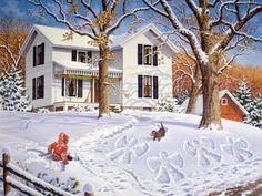 "This Old Farmhouse ""Angels in the Snow"" John Sloane Christmas Scenes, Christmas Art, Xmas, Christmas Angels, Christmas 2019, Snow Scenes, Winter Scenes, Happy Merry Christmas, Farm Art"