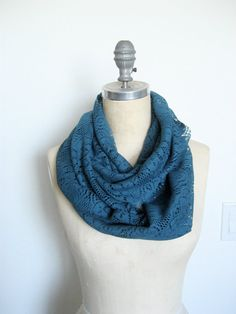 Lace Infinity Circle Scarf in Deep Teal by SevenWhiteRabbits, $18.00