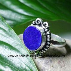 Lapis Lazuli Blue Moon Gemstone Crystal Silver Ring