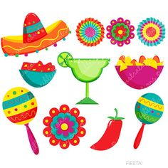 Fiesta Cute Digital Clipart, Spanish Mexican Clipart, Mexican Graphics, Cinco de…