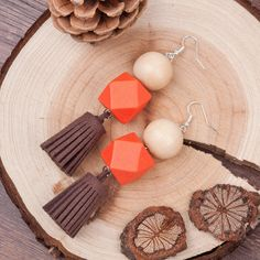 8SEASONS Women Jewelry Handmade silver plated Orange Color Round Wood beaded Korea Velvet Coffee tassel Pendant earring 1Pair *** Check this awesome product by going to the link at the image.