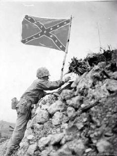 """""""You must always know the past, for there is no was, there is only is""""  --William Faulkner Confederate flag raised over Okinawa; for the rest of the story, see: thecivilwarparlor on Tumblr"""