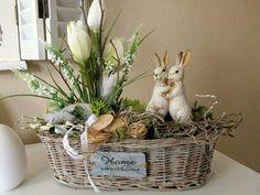 Bunny basket Easter Table, Wicker Baskets, Easter Crafts, Home Decor, Dekoration, Homemade Home Decor, Interior Design, Decoration Home, Home Interiors