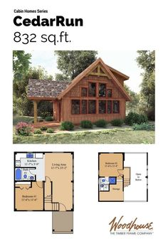 We love log cabins too! But we don't love the maintenance involved in a true cabin made of logs and the manufactured log homes seem contrived. The timber frame cabin series of small post and beam homes were designed and developed to offer an alternative. Small and simple with open cabin floor plans and, typically, sleeping lofts, these small post and beam plans will feel at home on any wooded or lakeside property.