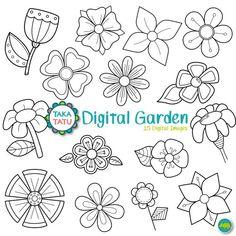 Digital Garden Digital Stamp Pack - Black and White Clipart / Flowers Clip Art / Black and White Pri