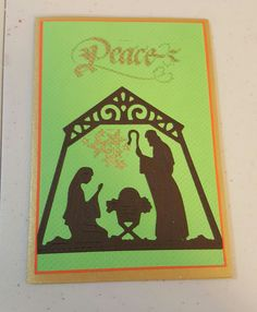 Nativity die cut and Peace stamp.
