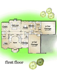 First Floor Plan of European   French Country   Tudor   House Plan 42824