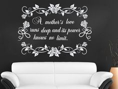 Wall Decal Quote Vinyl Sticker Decal Art Home Decor Mural Decals Quotes A Mother's Love Runs Deep Flowers Rose Mother's Day MS267